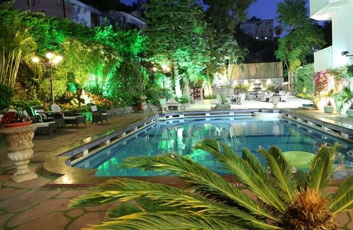 A snap of the swimming pool at the Hotel Hillock that is one of the best hotels in Mount Abu