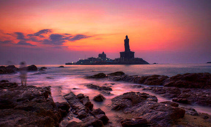 The awesome view of sunset at Kanyakumari Beach