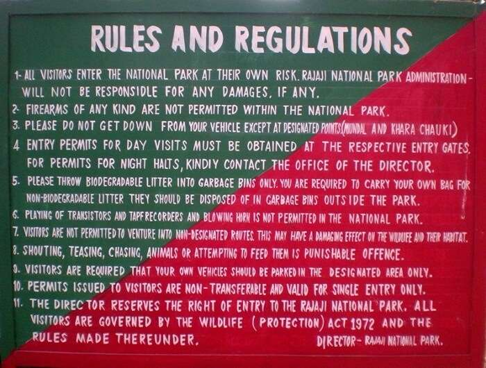 Rules and regulations of Rajaji National Park