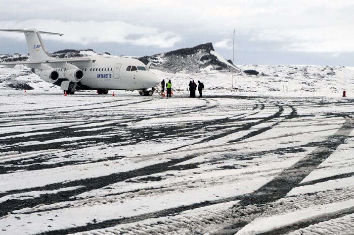 An aeroplane at the runway of King George Island airport in Antarctica