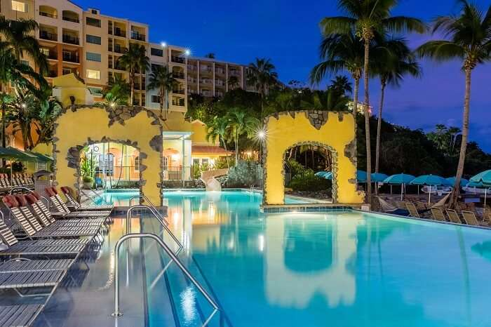 A night shot of the swimming pool at the Marriott Frenchman Cove resort in the US Virgin Islands