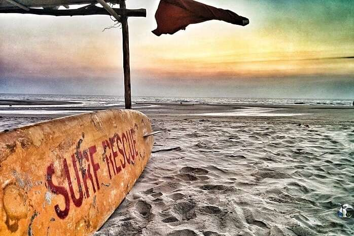 A sunset view of the surfing shack at the Mandrem Beach in Goa