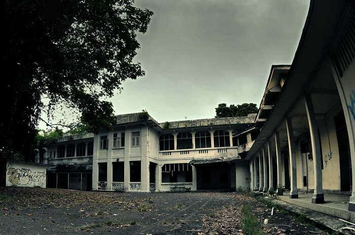 A view of the abandoned Old Changi Hospital that is now one of the most haunted places in the world