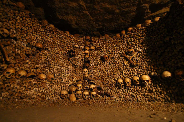 Remains of the dead laid in tunnels beneath the city of Paris