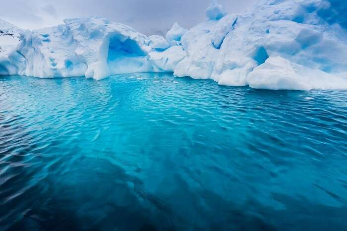Beautiful icescape floating on the blue waters of Antarctica