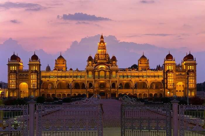 An evening shot of the Amba Vilas in Mysore