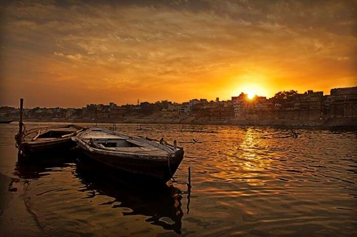 Boats at the ghats of Varanasi at the time of sunset