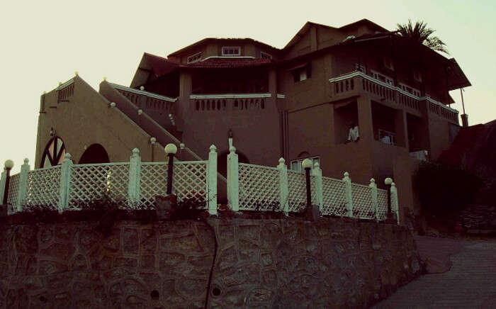 A view of the grand Udai Garh Hotel in Mount Abu