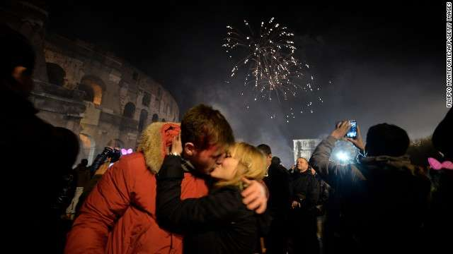 Couple Kissing on New Year's eve in Dubai
