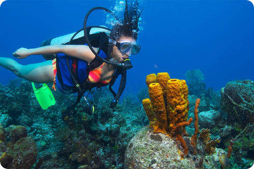 Girl Scuba Diving in Andaman