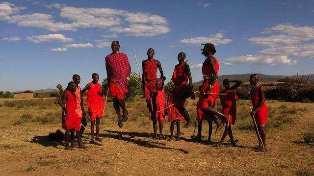 Maasai mara warrior jumping dance, Kenya
