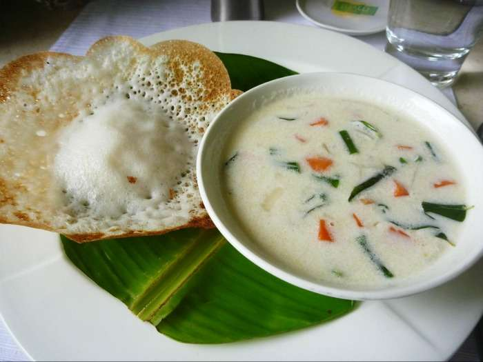 Appam and Stew - typical Kerala flavoured dish loaded with creamy coconut milk
