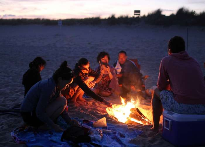 Beach bonfire night with friends in Mandarmoni, West bangal