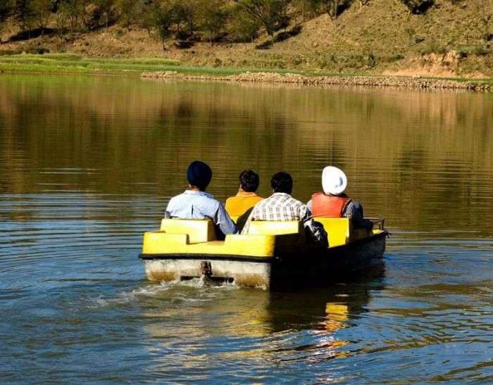 Boating in the lake of morni hills, Haryana