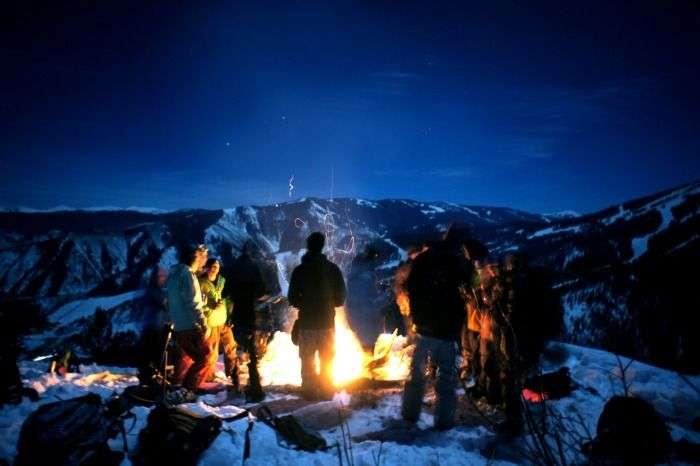 Bonfire camping at snow clad hills of Kullu and Manali