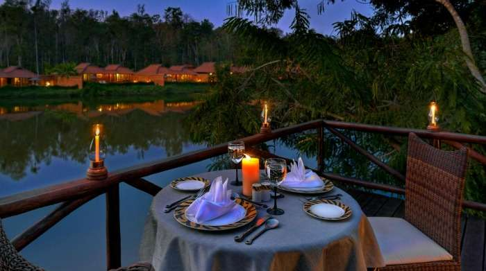 Candle light dinner for honeymoon couple at the western ghats, Coorg