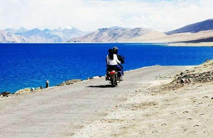 Romantic couple bike riding Leh-Ladakh