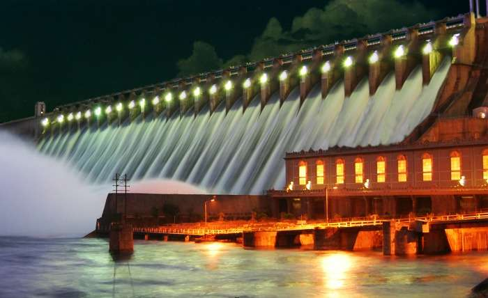 Night view of Nagarjuna Sagar Dam