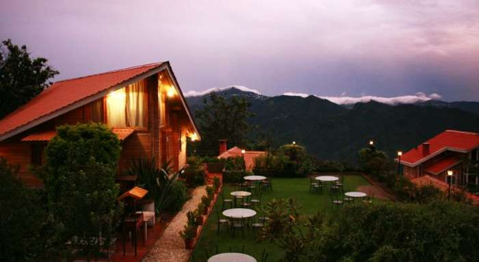 A stunning view from the Chalets Resort in Naldhera, Himachal Pradesh