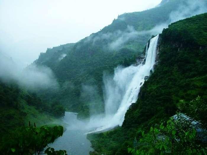 Romantical scenatic view at the Nuranang Water Falls in Tawang