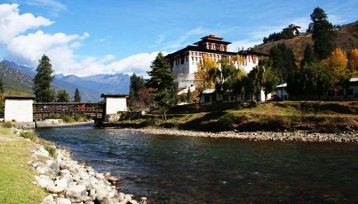 A view of Rinchen Pung Dzong at Paro valley, Bhutan