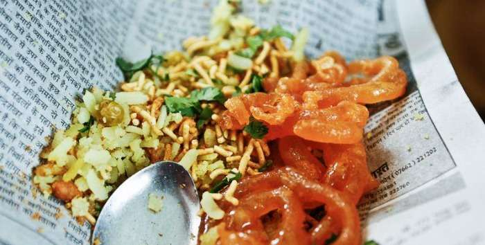 Indore morning breakfast - Poha with hot crispy jalebis