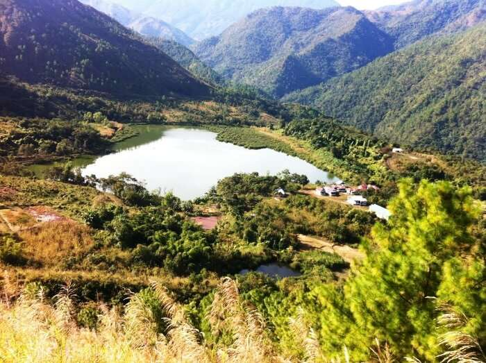 Scenatic view of Shilloi Lake from glorious mountain peaks, Nagaland