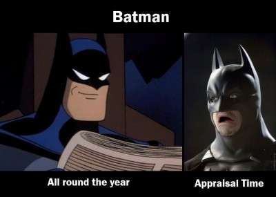 Different reactions at the time of appraisal shown through Batman comics