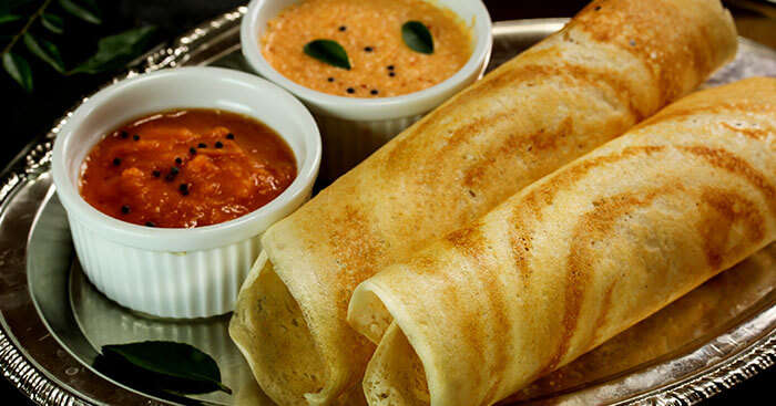 A snap of a Dosa Thali served in Kerala