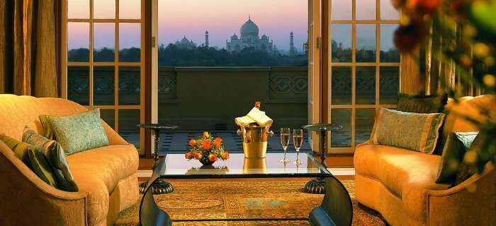 The Oberoi Amarvilas Resort in Agra with a splendid view of the Taj Mahal through it's rooms