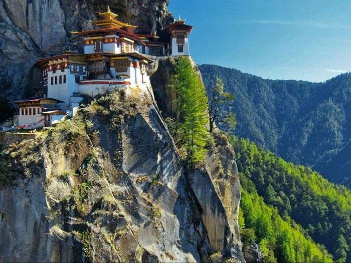 Bhutan Temple, located in the cliffside of the upper Paro valley