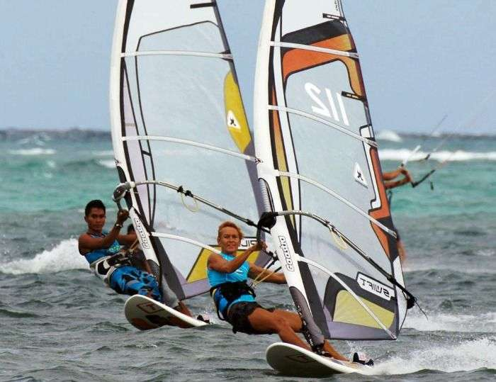 Windsurfing in Boracay beach