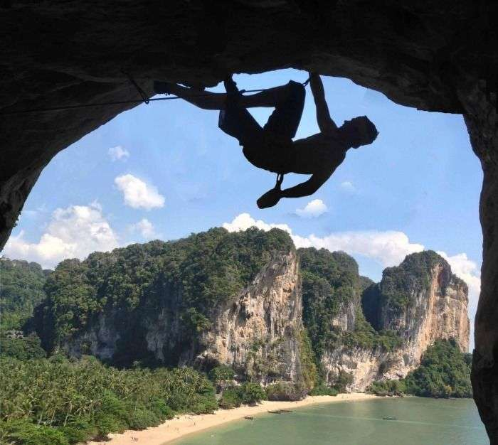 Rock climbing at Ton Sai, thailand