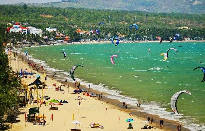 Mui Ne Beach at Vietnam famous for fun-filled activites like Kite surfing