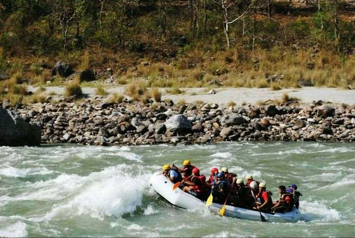 Raft along the fast-flowing waters of Ganges in Rishikesh