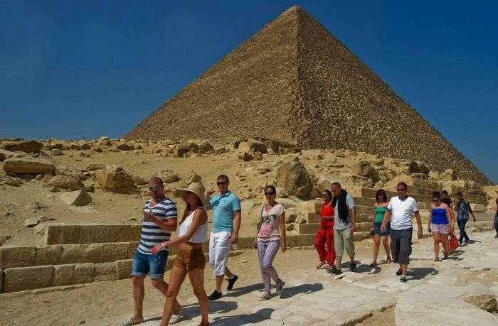 Tourists at Pyramids of Egypt