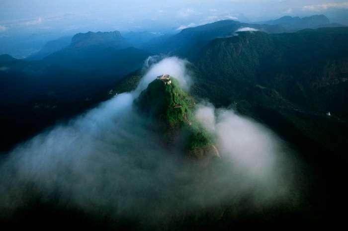 Aerial view of Adam's Peak Sri Lanka