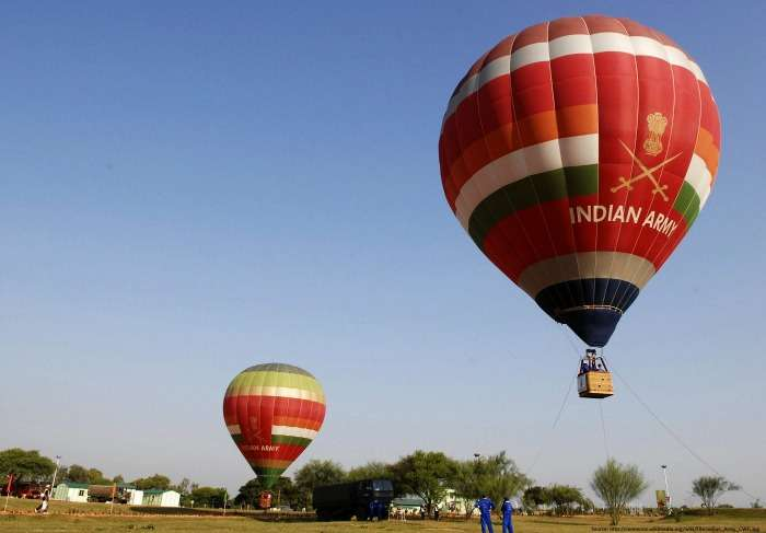 Hot air balloons by the Indian Army in Delhi and Haryana