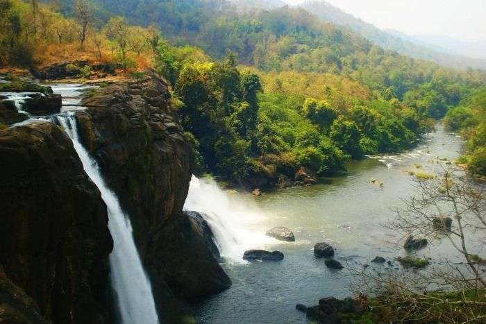 The gushing Athirappally waterfalls