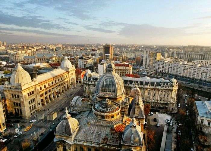 Aerial View of Bucharest, an ancient city of Romania with fabulous beautiful buildings