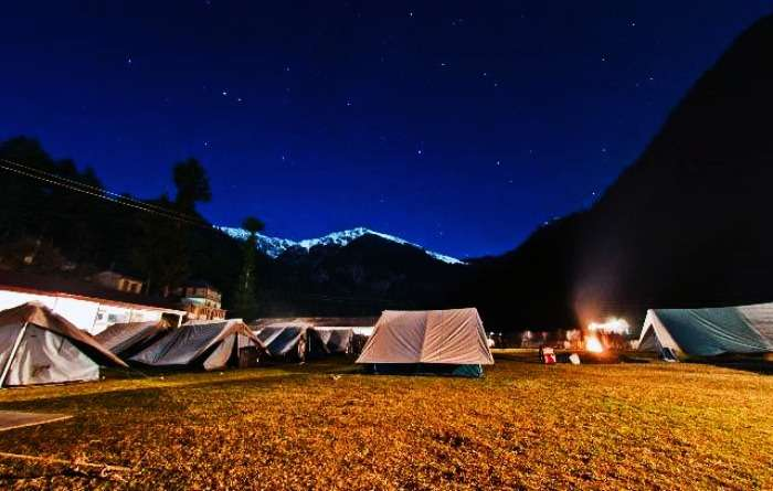 Camping and bon fire in Kullu