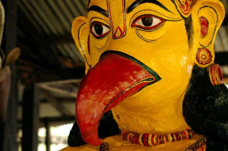 A statue of a Hindu Goad, Garuda in the ancient satra of Majuli, Assam