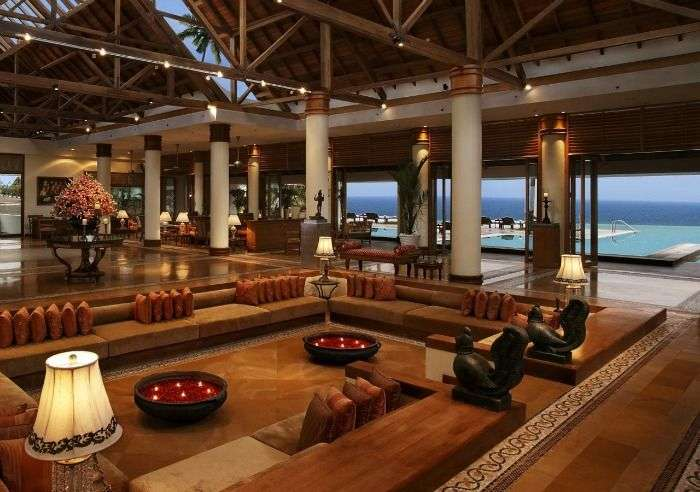 Luxurious and romantic lobby of Hotel Sea Face, Kovalam