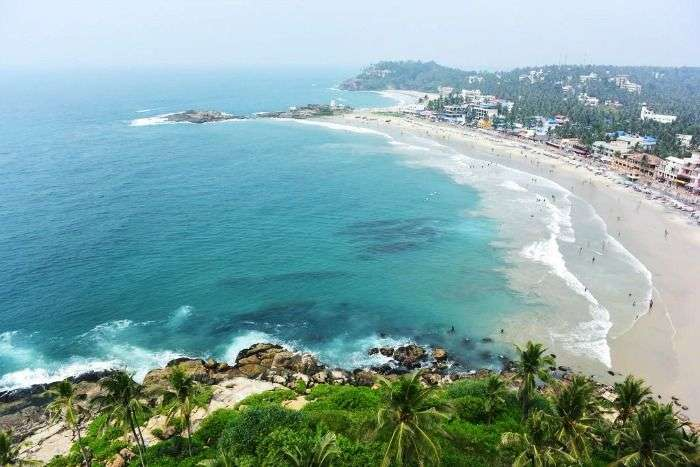 View from the lighthouse at the Kovalam beach