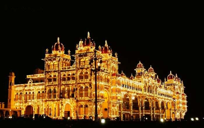 view of the Mysore Palace at night