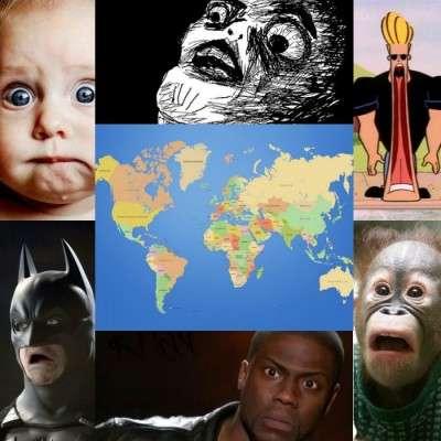 world map shocked collage