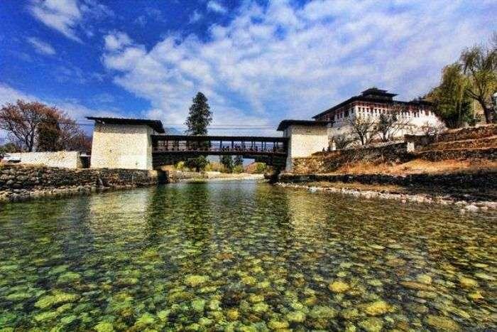 Scenic view of Rinpung Dzong in Paro Bhutan