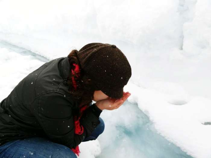 Shivya Nath - Sipping glacier water in Canada