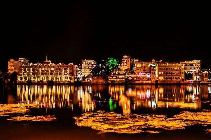 Illuminated sky in Udaipur