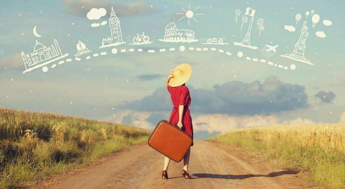 A woman traveller planning her wanderlust